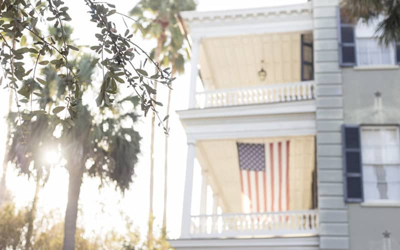 Southern Style Porch with Flag